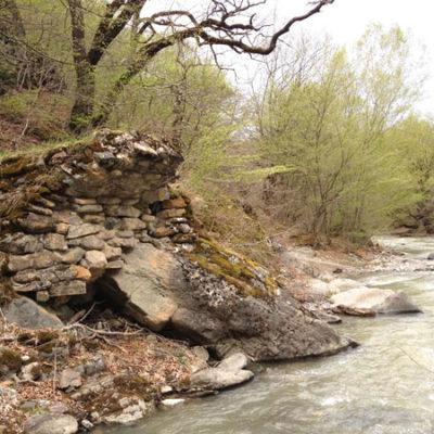 Medieval bridge foundation near Rkoni Monastery, seen on John Graham Tours.