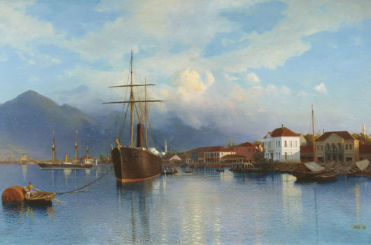 A historic painting of the port of Batumi on the Black Sea coastline with the Adjara mountains entering the sea, seen on the Viticulture and Highlands West tour organized by John Graham Tours.