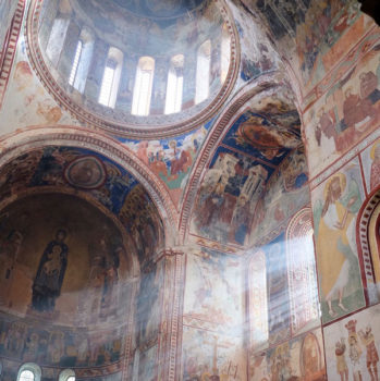 Interior frescoes and cupola dome of the UNESCO world heritage site Gelati Monastery and Academy. Seen on cultural tours organized by John Graham Tours.