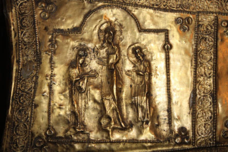 Gold leaf icon from Svaneti, Georgian highland region, seen on cultural tours organized by John Graham Tours.