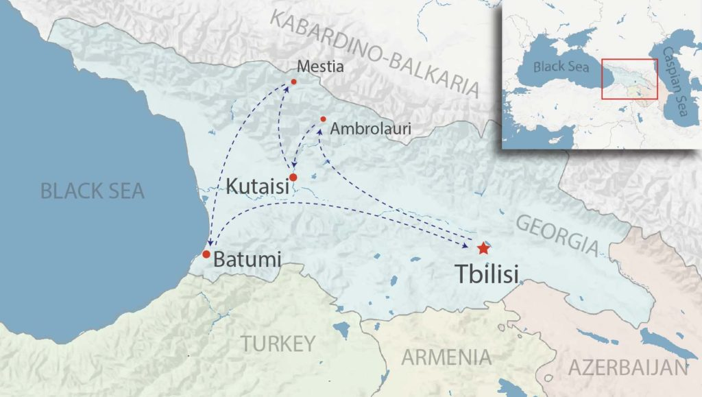 Map for the Viticulture and Highlands cultural tour to Racha, Svaneti, Colchis, Batumi, and Tbilisi
