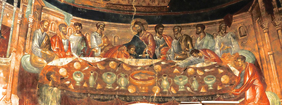 Important 14th century fresco of the Last Supper at Ubisa Monastery in central Georgia, seen on cultural tours organized by John Graham Tours.