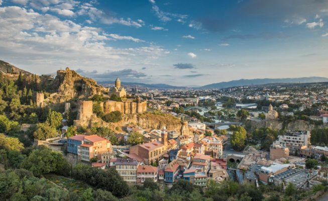 Tbilisi nariqala fortress and old town as seen on cultural tours organized by John Graham Tours.