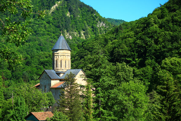 Barakoni church in Racha, seen on the Walking in the Caucasus West tour by John Graham Tours.