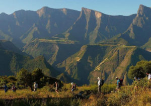 Hikers in the Simien National Park, on the Ethiopia Hiking tour organized by John Graham Tours.