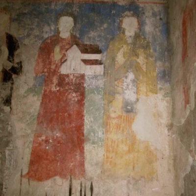 Frescoes in a side chapel, Rkoni Monastery