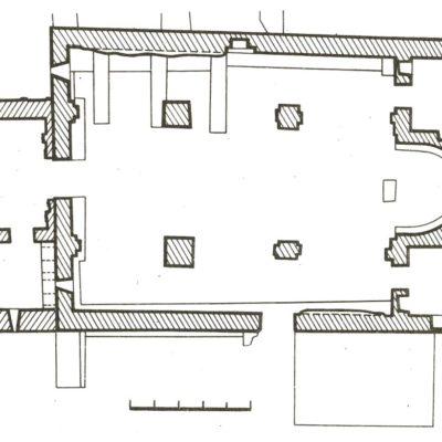Plan of the Virgin Mother basilica, Rkoni Monastery (7th c.)