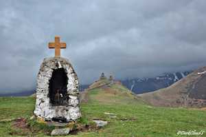 Prayer cairn, Kazbegi, Georgia